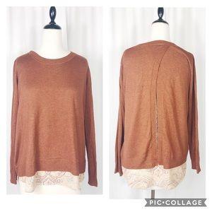 Dalia Tobacco Print Open Back Sweater